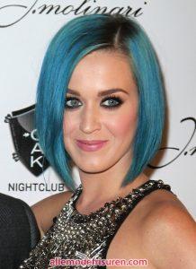 Katy Perry Kurz Blau Eine Linie Bob Frisuren