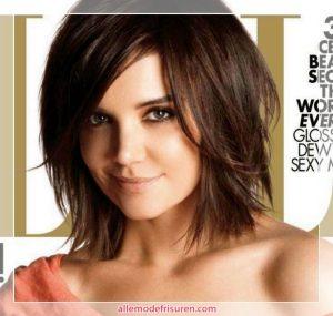 frisuren mittellang Katie Holmes abgehackt Haar 300x285 - Trend Abgehakt Haarschnitte 2018