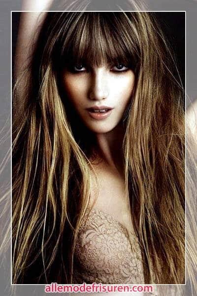 Frisuren für lange Haare Pony