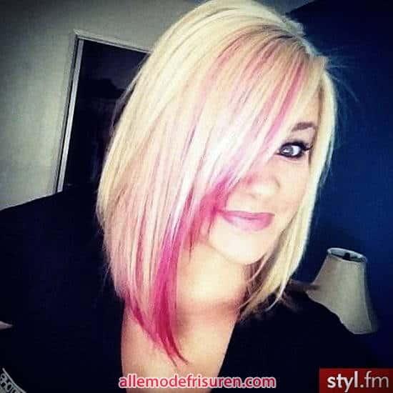 Bob Schnitt blond mit rosafarbenen Streifen 2017 - Ideen Blondes Haar mit rosa highlights