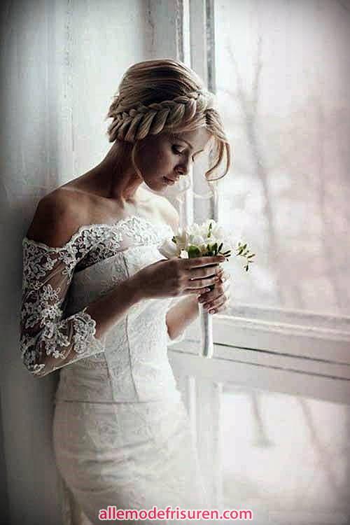 Hochzeit Frisuren blonden Zöpfen Krone
