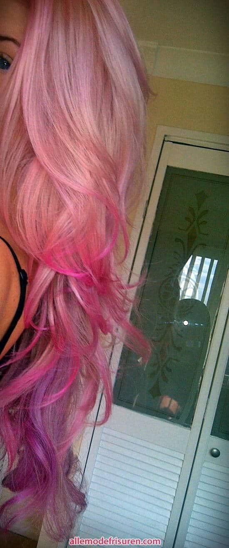 Ideen blondes Haar mit rosa Streifen 2017 - Ideen Blondes Haar mit rosa highlights