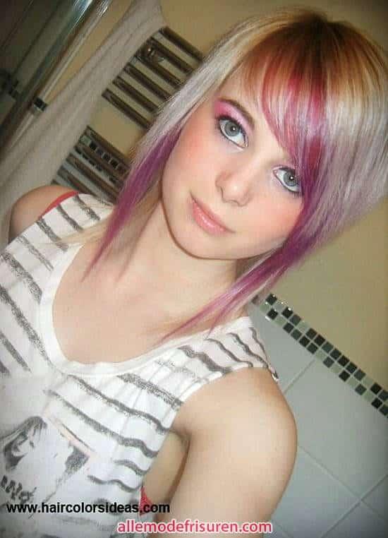 Rosa Haar blond Pony 2017 - Ideen Blondes Haar mit rosa highlights