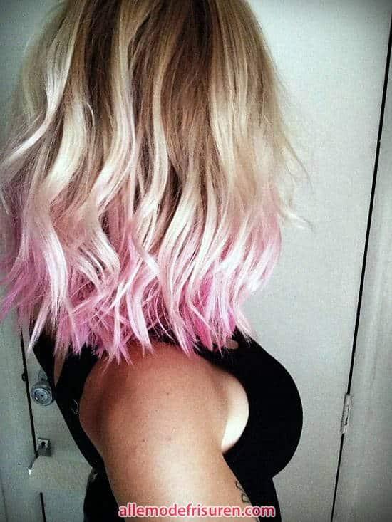 blonde Haare mit rosa Spitzen 2017 - Ideen Blondes Haar mit rosa highlights