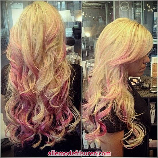lange blonde Haare mit rosa Streifen 2017